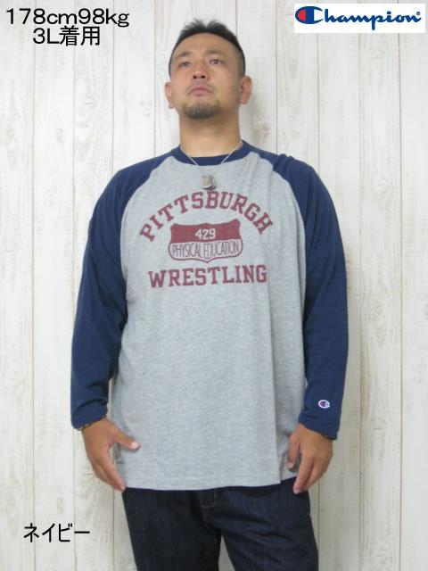 (大きいサイズ メンズ 通販 デビルーズ)Champion(チャンピオン)「PITTSBURGE」ロンTEE
