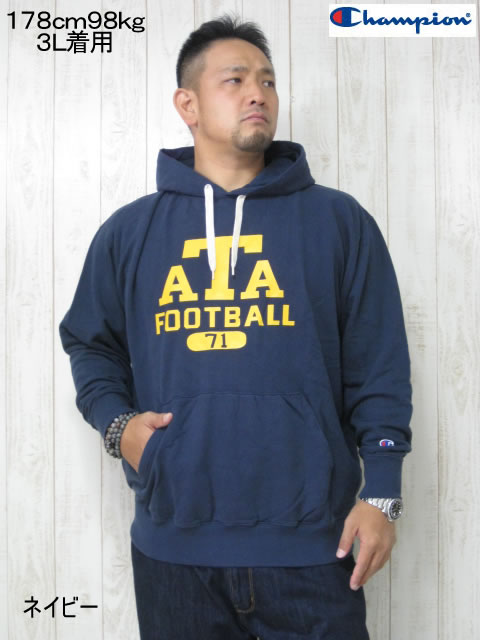 (大きいサイズ メンズ 通販 デビルーズ)Champion(チャンピオン)「ATA」HOODY