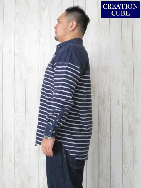 (大きいサイズ メンズ 通販 デビルーズ)CREATION CUBE パネルボーダー切替 コットンビエラ 長袖シャツ