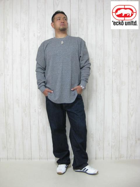 (大きいサイズ メンズ 通販 デビルーズ)ECKO UNLTD(エコーアンリミテッド)BLACK「PRIMETIME」サーマルロンTEE