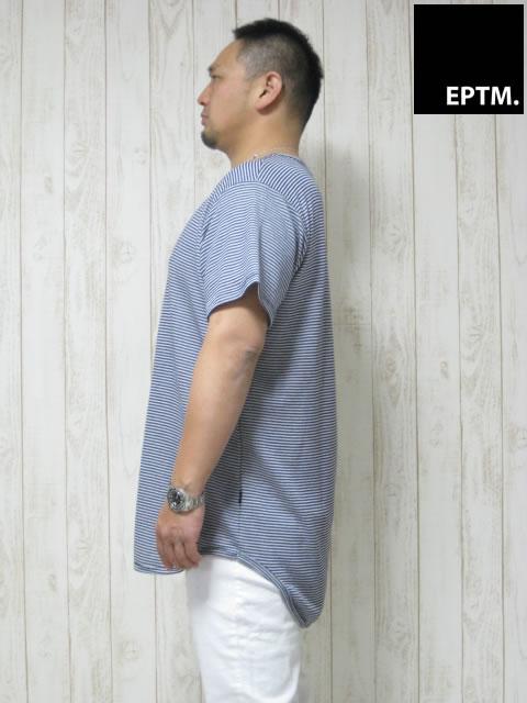 (大きいサイズ メンズ 通販 デビルーズ)EPTM(エピトミ)「STRIPE FRENCH TERRY」TEE