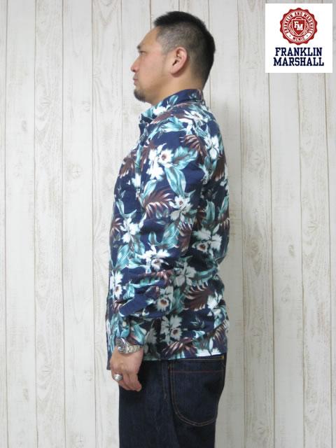 (大きいサイズ メンズ 通販 デビルーズ)FRANKLIN&MARSHALL「BLUE VINTAGE FLOWER」長袖シャツ