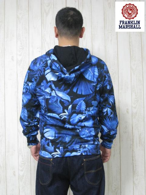 (大きいサイズ メンズ 通販 デビルーズ)FRANKLIN&MARSHALL「BLUE FOREST」フルZIP HOODY