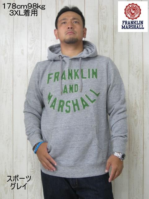 (大きいサイズ メンズ 通販 デビルーズ)FRANKLIN&MARSHALL「APPLIQUE」HOODY