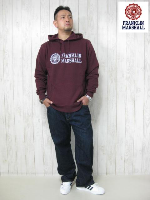 (大きいサイズ メンズ 通販 デビルーズ)FRANKLIN&MARSHALL 「BORDEAUX」HOODY