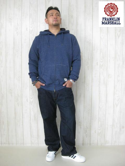 (大きいサイズ メンズ 通販 デビルーズ)FRANKLIN&MARSHALL 「BASIC」フルZIP HOODY