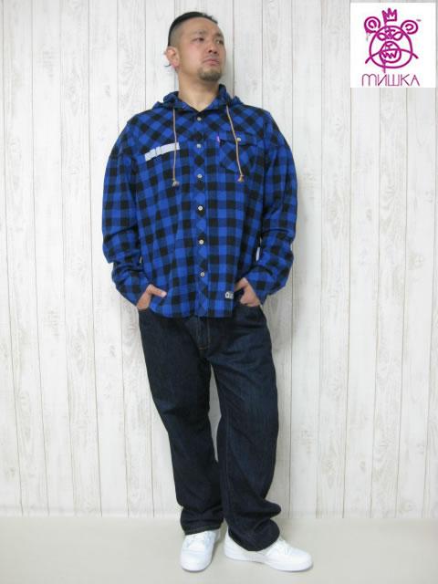(大きいサイズ メンズ 通販 デビルーズ)「UTILIY」フード付き 長袖ネルシャツ
