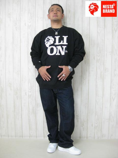 (大きいサイズ)NESTA BRAND(ネスタブランド)「LION TM」スウェットシャツ