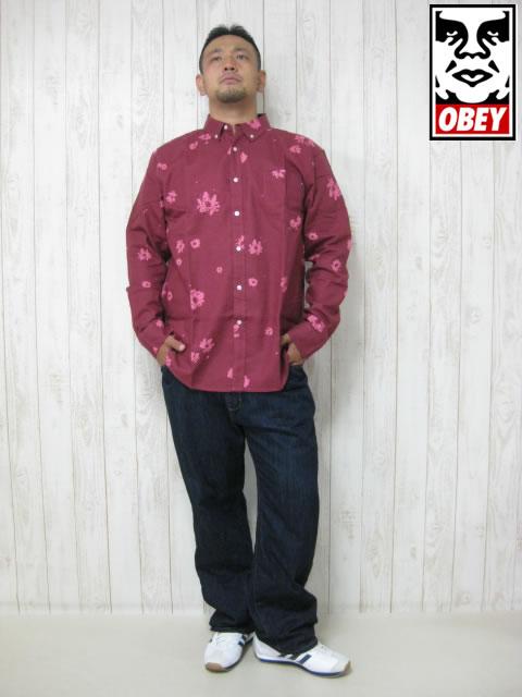 (大きいサイズ メンズ 通販 デビルーズ)OBEY(オベイ)「OH DAISY」長袖シャツ