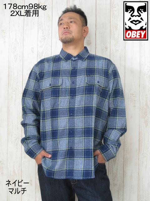 (大きいサイズ メンズ 通販 デビルーズ)OBEY(オベイ)「WILCOX」長袖ネルシャツ