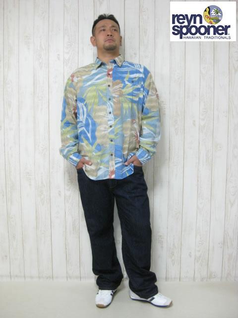 (大きいサイズ メンズ 通販 デビルーズ)REYN SPOONER(レインスプーナー)「ISLAND MIX」長袖シャツ