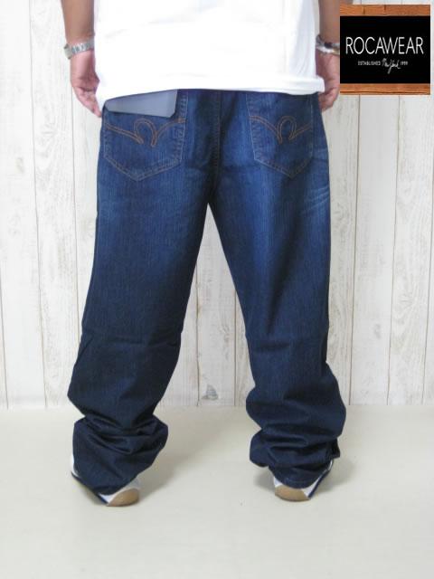 (大きいサイズ メンズ 通販 デビルーズ)ROCAWEAR(ロカウェア)EURO「STITCH R」ボタンフライ ルーズフィットジーンズ