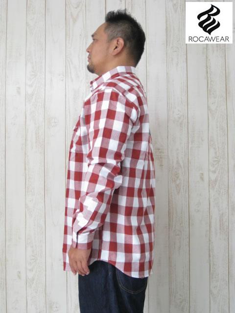 (大きいサイズ メンズ 通販 デビルーズ)ROCAWEAR(ロカウェア)JAPAN「BUFFALO PLAID」長袖シャツ
