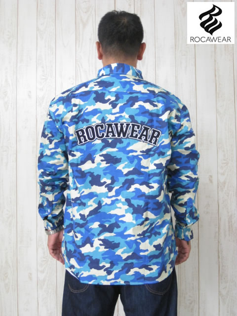 (大きいサイズ メンズ 通販 デビルーズ)ROCAWEAR(ロカウェア)JAPAN「CAMO」長袖シャツ