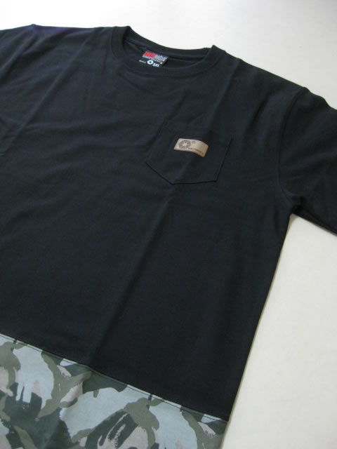 (大きいサイズ メンズ 通販 デビルーズ)SOUTHPOLE(サウスポール)迷彩ポケット付き 裾切替プリントTEE