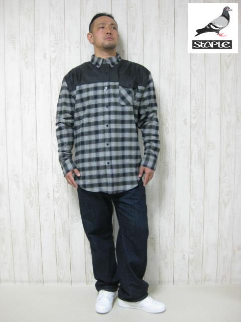(大きいサイズ メンズ 通販 デビルーズ)STAPLE(ステイプル)「COMPLEX」長袖ネルシャツ