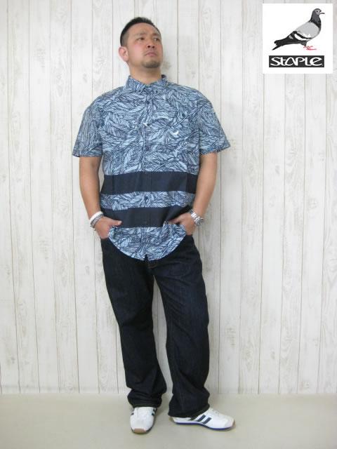 (大きいサイズ メンズ 通販 デビルーズ)STAPLE(ステイプル)「QUILL」半袖シャツ
