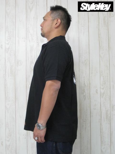 (大きいサイズ メンズ 通販 デビルーズ)STYLEKEY(スタイルキー)「HAND SIGN」半袖ポロシャツ