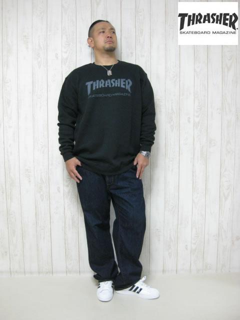 (大きいサイズ メンズ 通販 デビルーズ)THRASHER(スラッシャー)「MAG CREW」スウェットシャツ
