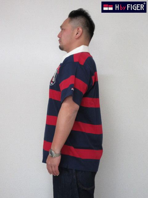 (大きいサイズ メンズ 通販 デビルーズ)H by FIGER(エイチバイフィガー)ボーダー半袖ラガーシャツ