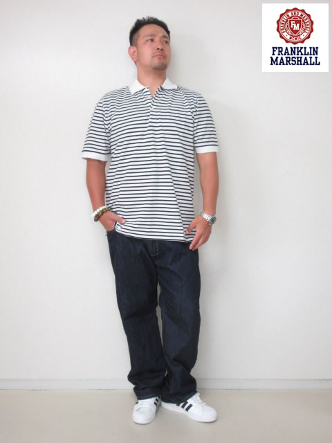 (大きいサイズ メンズ 通販 デビルーズ)FRANKLIN&MARSHALL 「BORDER」半袖ポロシャツ