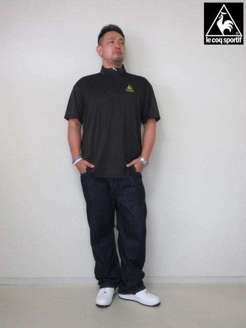(大きいサイズ メンズ 通販 デビルーズ)LECOQSPORTIF(ルコックスポルティフ)ハーフZIPドライTEE