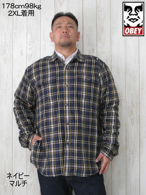 (大きいサイズ メンズ 通販 デビルーズ)OBEY(オベイ)「LIAM」シャツジャケット