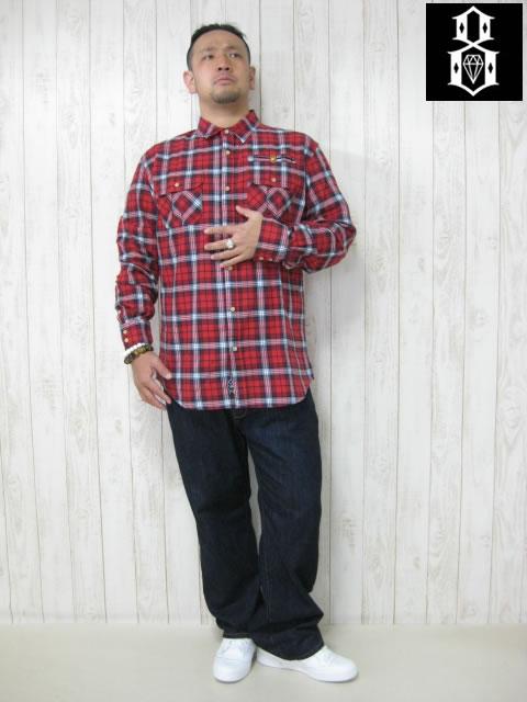 (大きいサイズ メンズ 通販 デビルーズ)REBEL8(レベルエイト)「CHALLENGER」長袖ネルシャツ