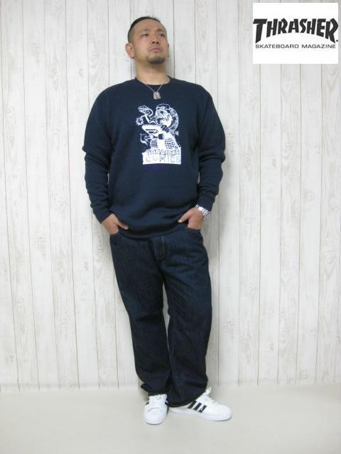 (大きいサイズ メンズ 通販 デビルーズ)THRASHER(スラッシャー)「COMIC−2」スウェットシャツ